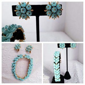 50's/60's Trifari Forget-Me-Not Turquoise Set